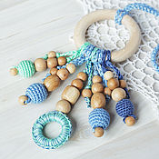 Куклы и игрушки handmade. Livemaster - original item Teether ring - the first toy denim-mint. Handmade.