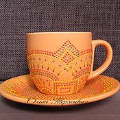 """Посуда ручной работы. Ярмарка Мастеров - ручная работа Чайная пара керамическая """"Оранж"""" Посуда керамика. Handmade."""