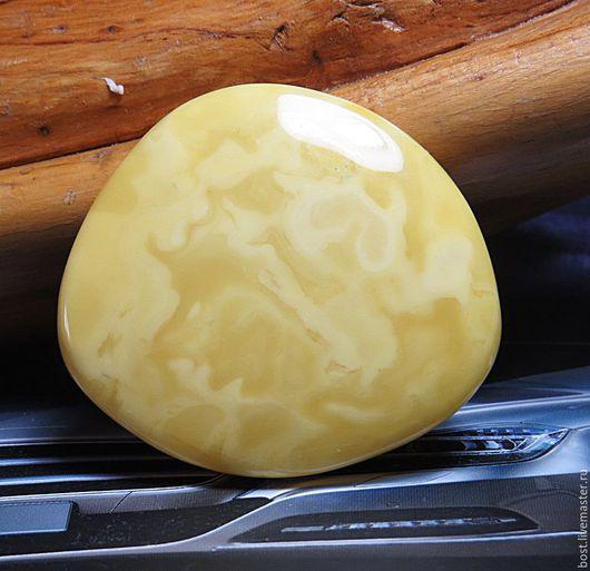 Для украшений ручной работы. Ярмарка Мастеров - ручная работа. Купить Шикарный кабошон из белого пейзажного природного янтаря. Handmade.