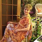 """Одежда handmade. Livemaster - original item Платье с кокеткой +Шарф на шелковой подкладке """"Мальва"""" батик. Handmade."""
