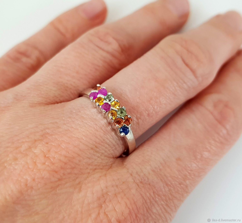 Серебряное кольцо с сапфирами 925 проба, Кольца, Москва,  Фото №1