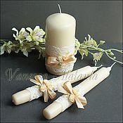 Свадебный салон ручной работы. Ярмарка Мастеров - ручная работа Свечи с кремовыми цветами и кружевом. Handmade.