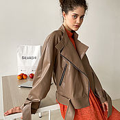 Одежда handmade. Livemaster - original item Leather jacket made of eco-leather in coffee color. Handmade.