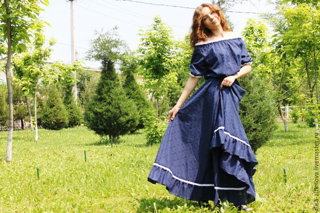 """Летнее платье синее """"Роскошь лета"""" хлопок-шитье, Dresses, Tashkent,  Фото №1"""