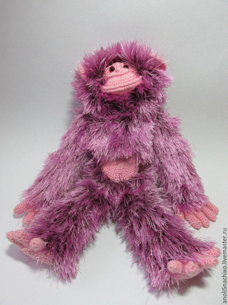 Игрушки животные, ручной работы. Ярмарка Мастеров - ручная работа. Купить обезьяна сиреневая. Handmade. Игрушка, подарок, подарок на новый год