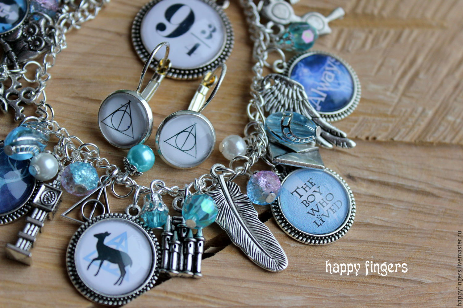 Harry potter jewelry set handmade bracelet earrings shop for Custom made jewelry stores