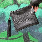 Сумки и аксессуары handmade. Livemaster - original item Cosmetic bag purse leather and faux leather tassel Black Croco. Handmade.