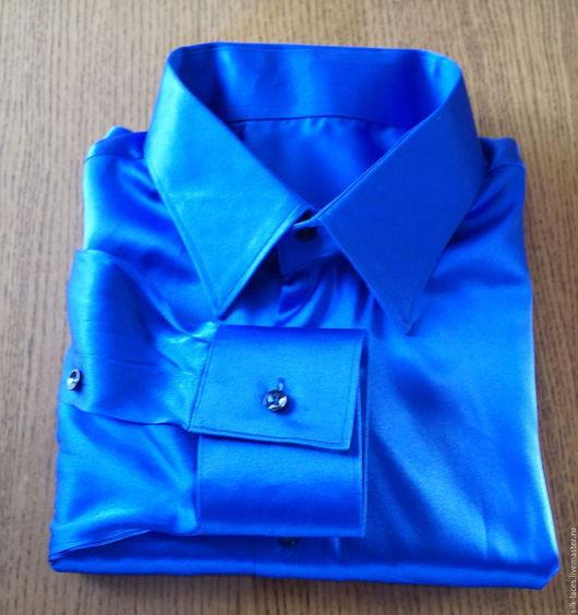 Для мужчин, ручной работы. Ярмарка Мастеров - ручная работа. Купить Мужская сорочка из натурального шёлка. Handmade. Синий