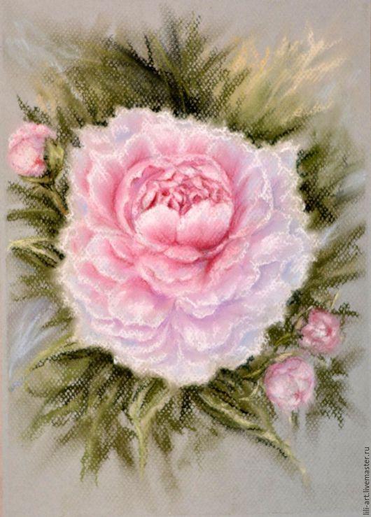 Картины цветов ручной работы. Ярмарка Мастеров - ручная работа. Купить картина пастелью Пион. Handmade. Розовый, картина с цветами