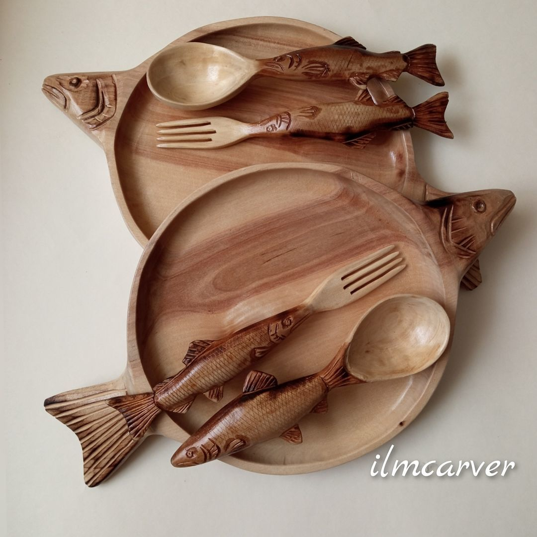 Set of tableware: Wooden spoons and dishes with fishing motifs, Dinnerware Sets, Elista,  Фото №1