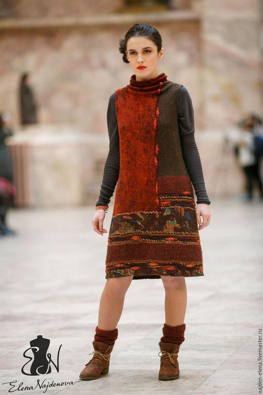 """Платья ручной работы. Ярмарка Мастеров - ручная работа. Купить валяный платье-сарафан """"Ethno"""". Handmade. Комбинированный, сарафан"""
