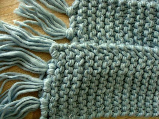 Винтажная одежда и аксессуары. Ярмарка Мастеров - ручная работа. Купить Английский теплый шарф из акрила, ручная вязка. Handmade. Голубой