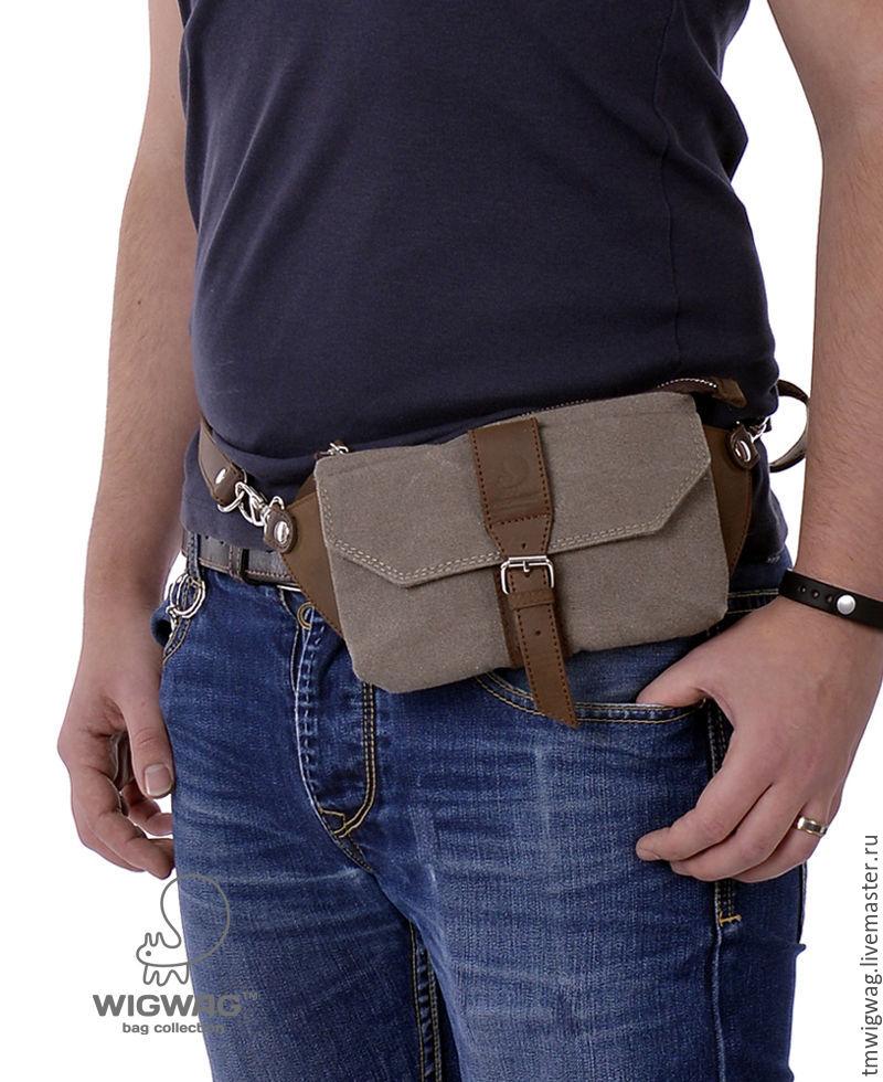 Поясная сумка из канваса и натуральной кожи, сумка на пояс – купить ... 3a5423be241