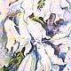 Сказочная картина. Фентези. Акварель Лилии. Звезды на стеблях. Картина ручной работы Серия Таинственный сад. Авторский принт на холсте. Сказка в теплоте рук Коневой Алёны. Ярмарка мастеров.