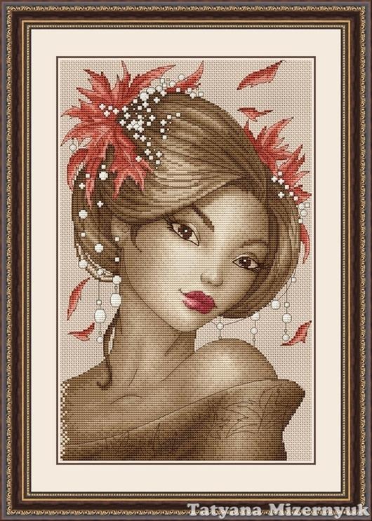 """Вышивка ручной работы. Ярмарка Мастеров - ручная работа. Купить Схема для вышивки крестиком """"Гейша Осень"""". Handmade."""