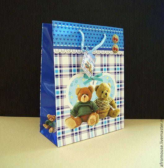 """Упаковка ручной работы. Ярмарка Мастеров - ручная работа. Купить пакет """"Мишки для мальчишек"""" 19х25х9 см. Handmade. Пакет с ручками"""