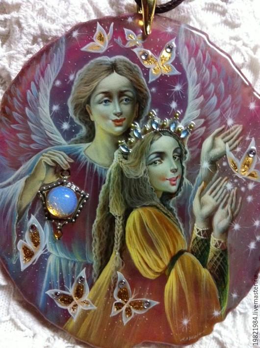 Кулоны, подвески ручной работы. Ярмарка Мастеров - ручная работа. Купить Ангел и Любовь. Handmade. Розовый, роспись по камню