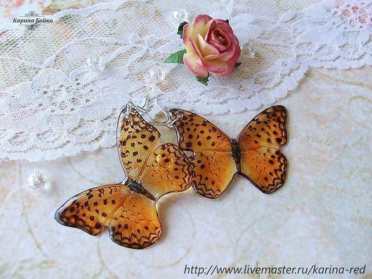 Серьги ручной работы. Ярмарка Мастеров - ручная работа. Купить Прозрачные Серьги Янтарные Бабочки. Handmade. Серьги с бабочками