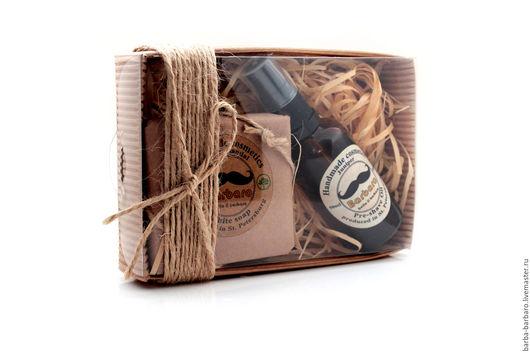 Подарочные наборы косметики ручной работы. Ярмарка Мастеров - ручная работа. Купить Подарочный набор Barbaro для бритья. Handmade. Коричневый