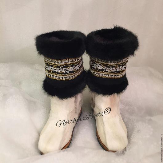 Обувь ручной работы. Ярмарка Мастеров - ручная работа. Купить Снежинки круг. Handmade. Белый, Север, северное сияние