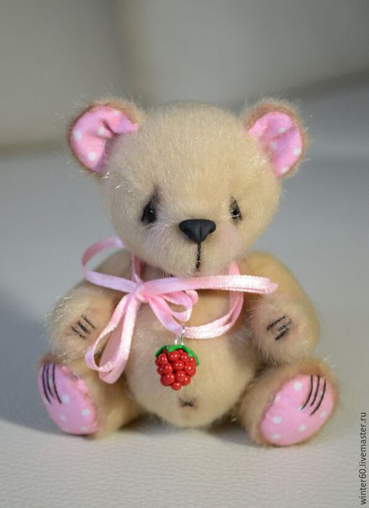 Мишки Тедди ручной работы. Ярмарка Мастеров - ручная работа. Купить Медвежонок Ягодка Малинка. Handmade. Бежевый, миник