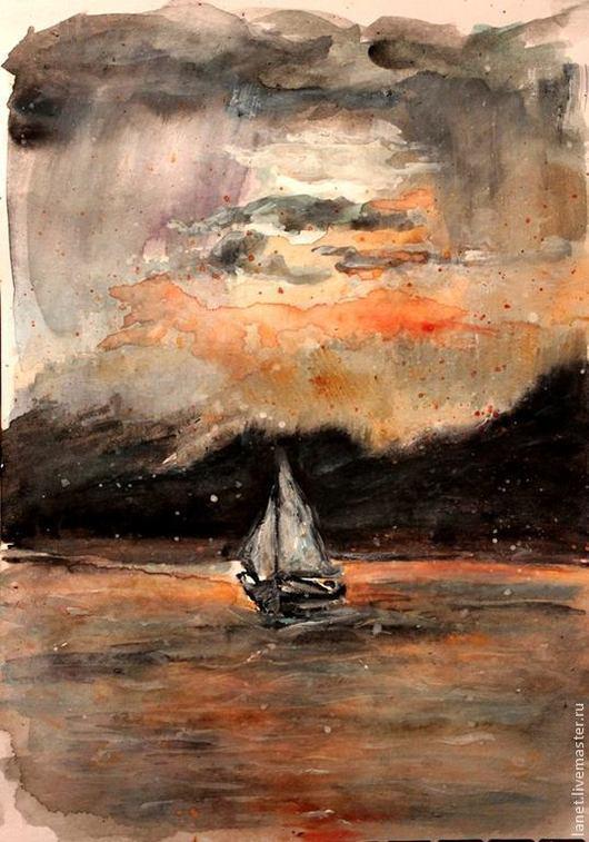 """Пейзаж ручной работы. Ярмарка Мастеров - ручная работа. Купить Акварельный рисунок  """"Гроза"""". Handmade. Гроза, гора, тревога, облака"""