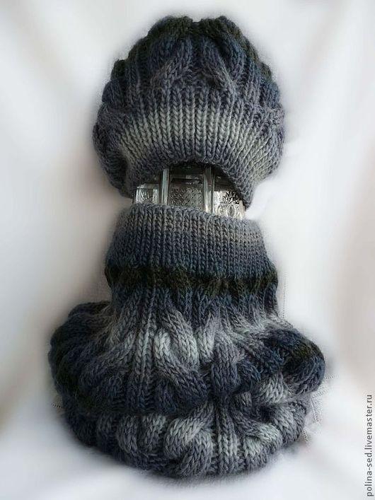 """Комплекты аксессуаров ручной работы. Ярмарка Мастеров - ручная работа. Купить Комплект шапка + шарф-снуд """"Серый туман"""". Handmade."""