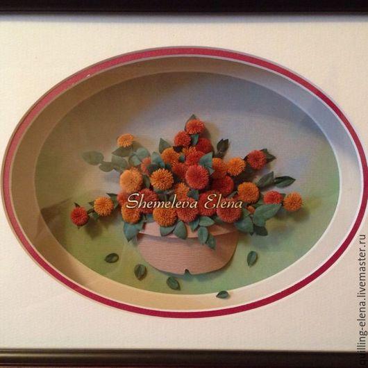 """Картины цветов ручной работы. Ярмарка Мастеров - ручная работа. Купить Картина - панно """"Хризантемы"""". Handmade. Оранжевый, Квиллинг"""
