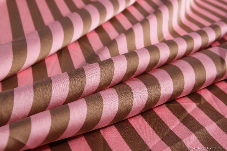 Silk-stretch Armani Stripe pink, Fabric, Moscow,  Фото №1