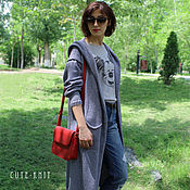 Одежда handmade. Livemaster - original item Cotton long cardigan with pockets and hood. Handmade.