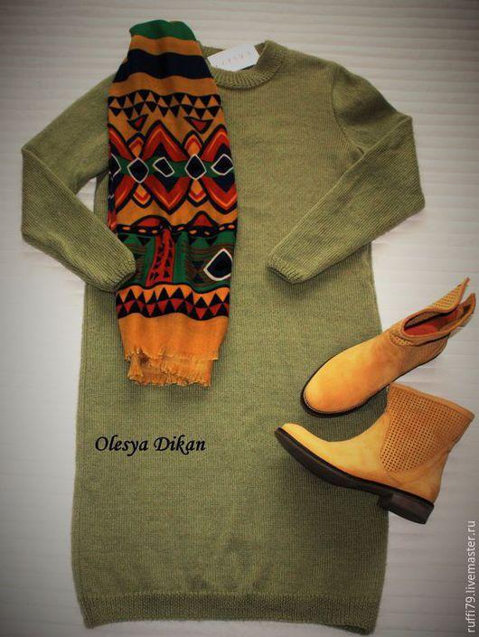 Платья ручной работы. Ярмарка Мастеров - ручная работа. Купить платье вязаное оливковое. Handmade. Оливковый, платье вязаное