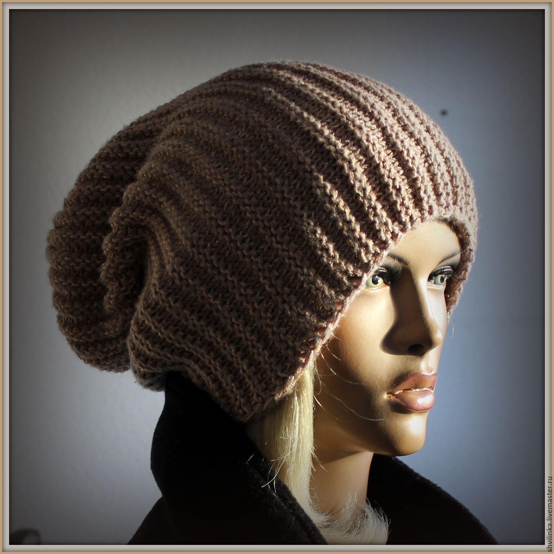 Вязание объемной шапки резинкой спицами