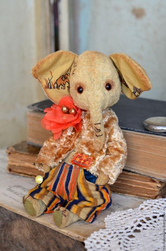 Мишки Тедди ручной работы. Ярмарка Мастеров - ручная работа. Купить Слоник Слуня. Handmade. Желтый, плюш для тедди, бархат