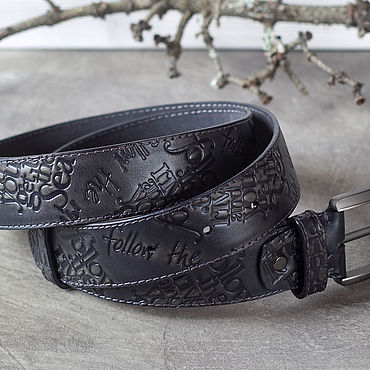 Accessories handmade. Livemaster - original item Straps: Men`s belt Black and grey. Handmade.