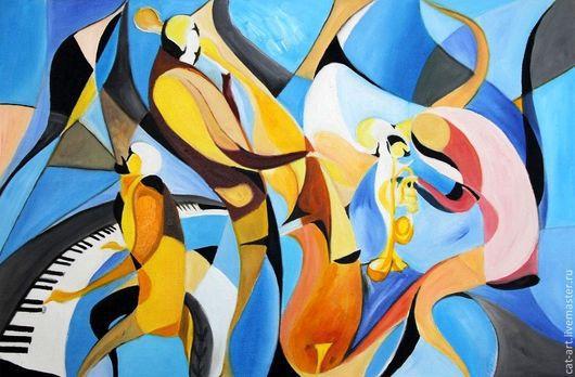 Абстракция ручной работы. Ярмарка Мастеров - ручная работа. Купить Оркестр в стиле Джаз - Авторская картина маслом на холсте. Handmade.