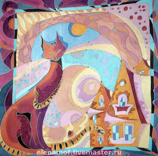 Животные ручной работы. Ярмарка Мастеров - ручная работа. Купить Панно Красная кошка. Handmade. Панно, декоративное панно, шелк