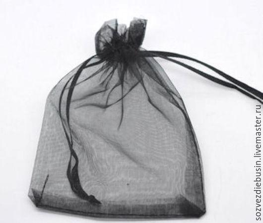 Упаковка ручной работы. Ярмарка Мастеров - ручная работа. Купить Мешочки из органзы, без рисунка, черные, 9x12см. Handmade. Мешочки