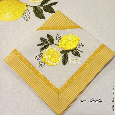 """Для дома и интерьера ручной работы. Ярмарка Мастеров - ручная работа Салфетка с вышивкой """"Лимоны -1"""". Handmade."""