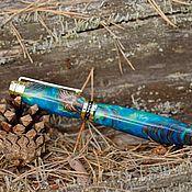 Ручки ручной работы. Ярмарка Мастеров - ручная работа Дизайнерская Ручка Синяя в Золотой огранке. Handmade.
