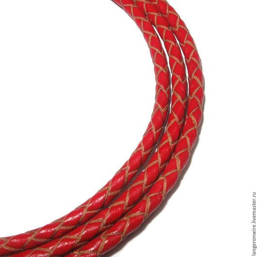 Для украшений ручной работы. Ярмарка Мастеров - ручная работа. Купить Шнур кожаный плетеный 3,0 мм. Цвет - красный. Handmade.