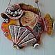 Подвески ручной работы. Ярмарка Мастеров - ручная работа. Купить Рыба с веером. Handmade. Цветы, яркий, глина, шнур