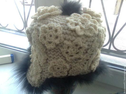 Шапки ручной работы. Ярмарка Мастеров - ручная работа. Купить вязаная шапка - ушанка из шерсти Зимние цветы с элементами фриформ. Handmade.