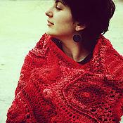 """Аксессуары ручной работы. Ярмарка Мастеров - ручная работа Шаль """"Красные рябина на снегу"""". Handmade."""