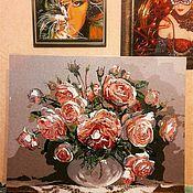 """Картины и панно ручной работы. Ярмарка Мастеров - ручная работа Картина"""" Розы в вазе"""".. Handmade."""