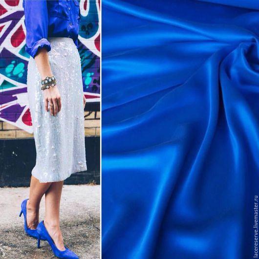 Шитье ручной работы. Ярмарка Мастеров - ручная работа. Купить Синий мокрый (вареный) шелк Италия. Handmade. Тёмно-синий