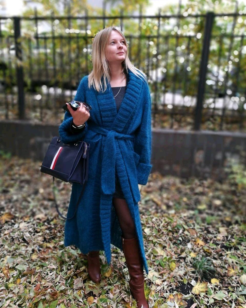 Вязаное мохеровое пальто-халат, Пальто, Москва,  Фото №1