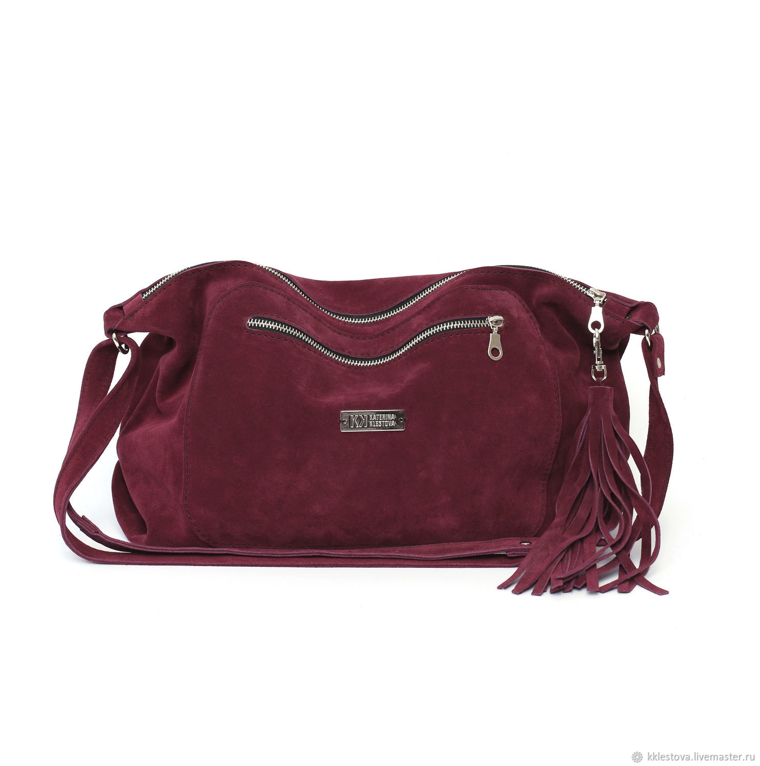 Crossbody bag burgundy suede with shoulder Strap with pockets, Crossbody bag, Moscow,  Фото №1