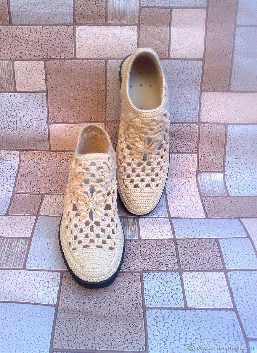 """Обувь ручной работы. Ярмарка Мастеров - ручная работа. Купить Туфли: """"Бабочка"""". Handmade. Обувь вязаная, туфли женские"""