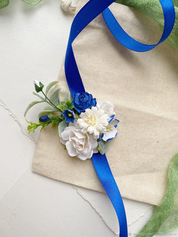 Цветочный браслет с синими и молочными цветами, для подружек невесты, Браслеты, Санкт-Петербург,  Фото №1