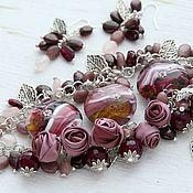 Украшения handmade. Livemaster - original item The trill of the Nightingale. Bracelet and earrings of garnet and lampwork.. Handmade.